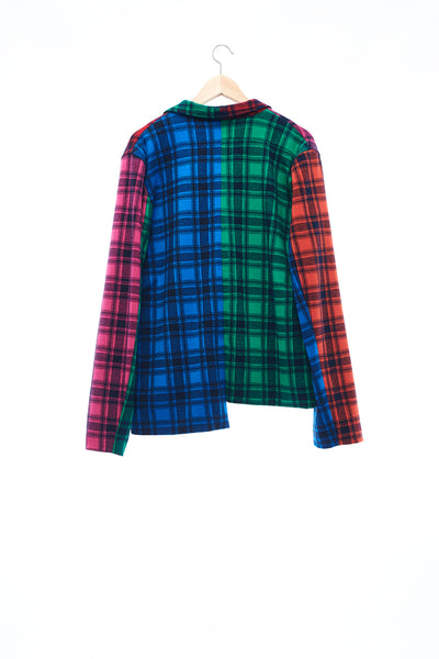 Sean Collection- Rainbow Inspired Asymmetric Knitted Tartan Blazer