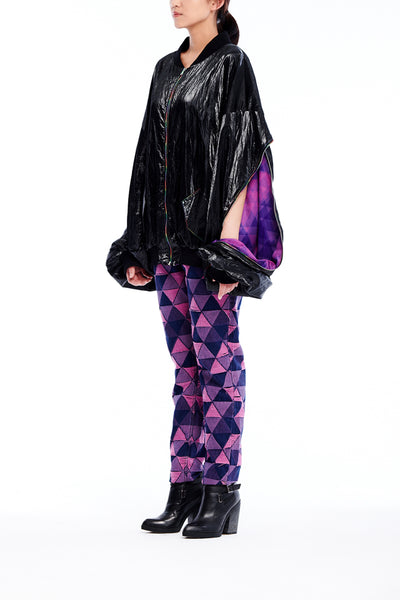 Sean Collection- BPM Inspired Patent Leather Effect Over-sized Jacket.