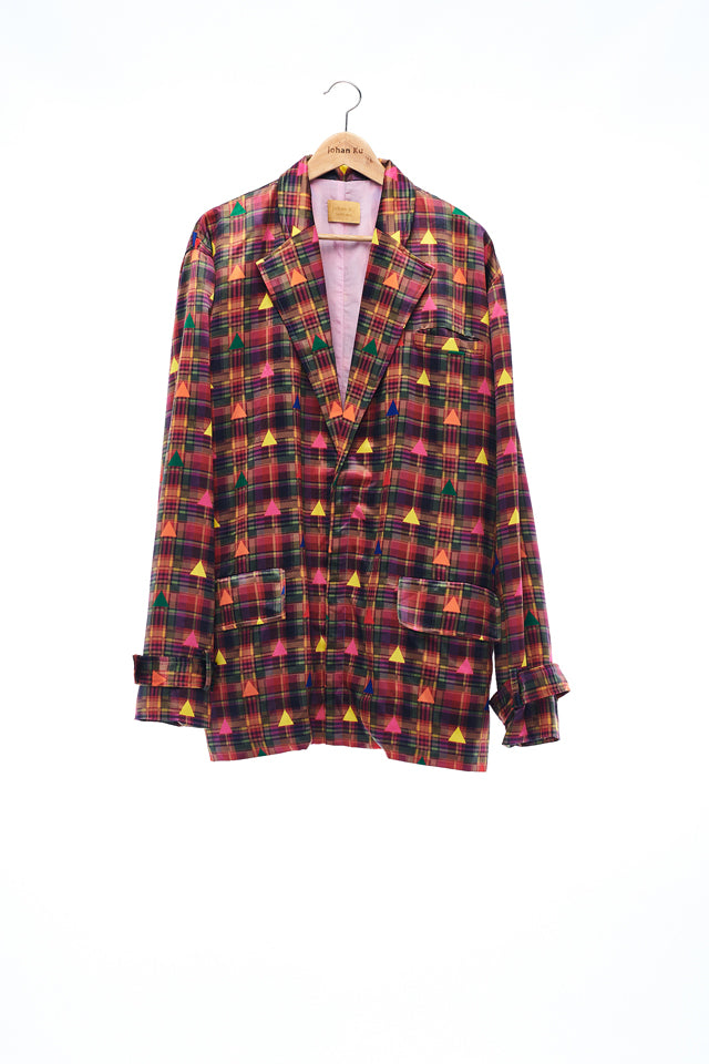 Sean Collection- BPM Inspired Triangle Graphic Printed Full Colour Blazer