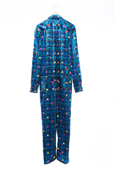 Sean Collection- Zip Front Printed Overalls- Blue Check with Rainbow Triangle Dots