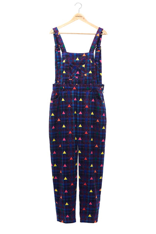 Sean Collection-Printed Overalls- Purple Check with Rainbow Triangle Dots