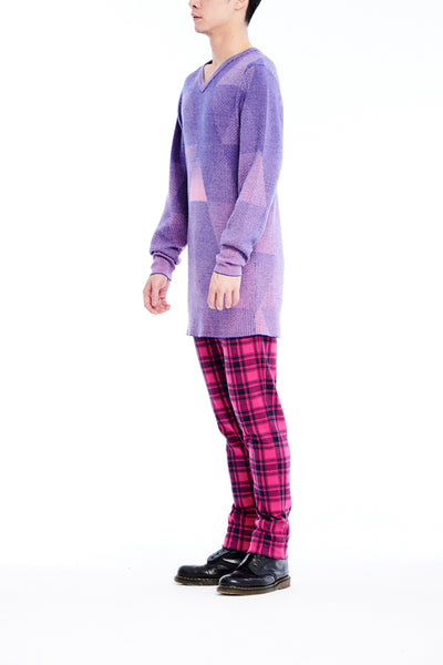 Sean Collection- Triangle Image Graphic Jacquard Knitwear- Blue/Pink