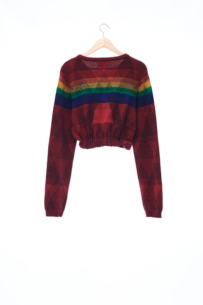 Sean Collection- Rainbow Meets Triangle Graphic Jacquard Crop Knitwear
