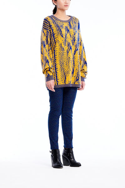 Sean Collection- Chunky Cable Graphic Jacquard Oversized Knitwear- Canary/Blue