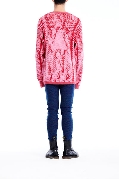 Sean Collection- Chunky Cable Graphic Jacquard Oversized Knitwear- Pink