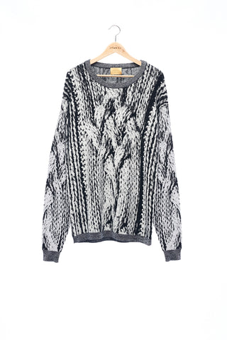 Sean Collection- Chunky Cable Graphic Jacquard Oversized Knitwear- B/W