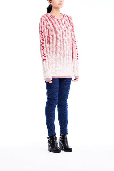 Sean Collection- Chunky Knitting Graphic Jacquard Knitted Hoodie- Red/White