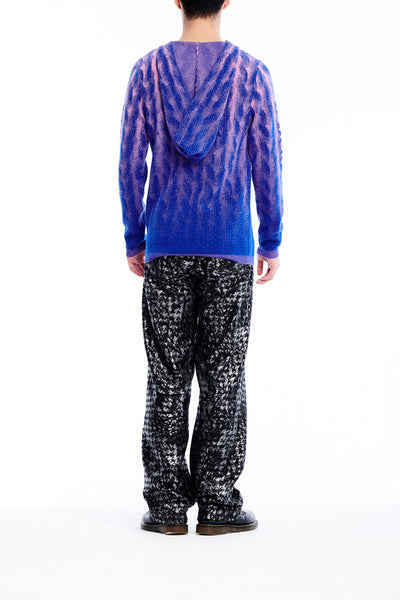 Sean Collection- Chunky Knitting Graphic Jacquard Knitted Hoodie- Blue/Pink