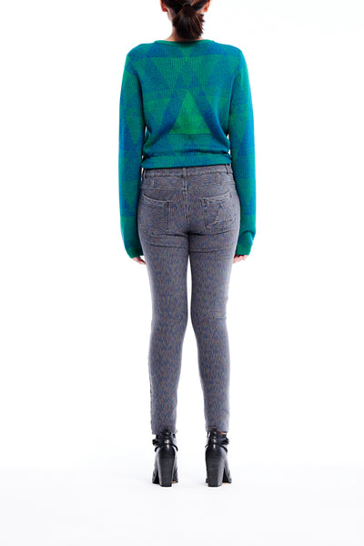 Sean Collection- Triangle Graphic Jacquard Crop V Neck Knitwear - Emerald