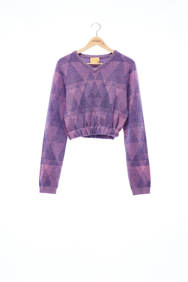 Sean Collection- Triangle Graphic Jacquard Crop V Neck Knitwear - Lavender