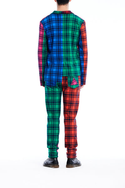 Sean Collection- Rainbow Image Colour Contrast Knitted Jacquard Tartan Trouser