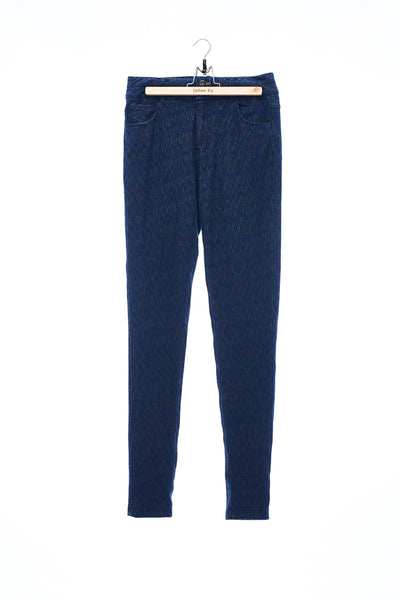 Sean Collection- Knitted Elastic Skinny Jeans - Indigo.