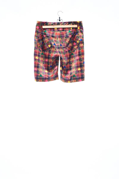 Sean Collection- Rainbow Colour Triangle Tartan Print Shorts