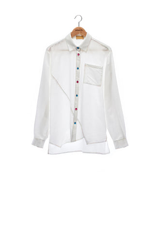 Sean Collection- Silk/Cotton Asymmetric Cutting Shirt- White