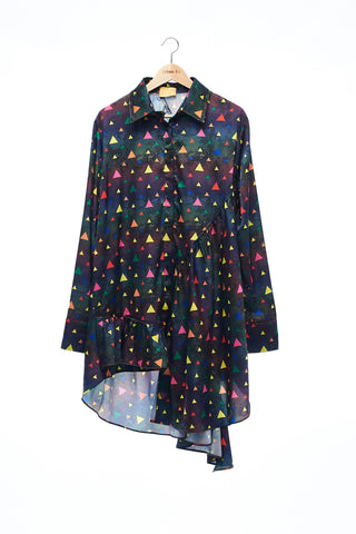 Sean Collection- Asymmetric Cutting Printed Short Dress- Rainbow Triangle Dots/Dark