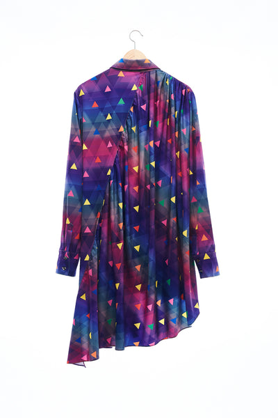 Sean Collection- Asymmetric Cutting Printed Short Dress- Rainbow Triangle Dots/Full Colour