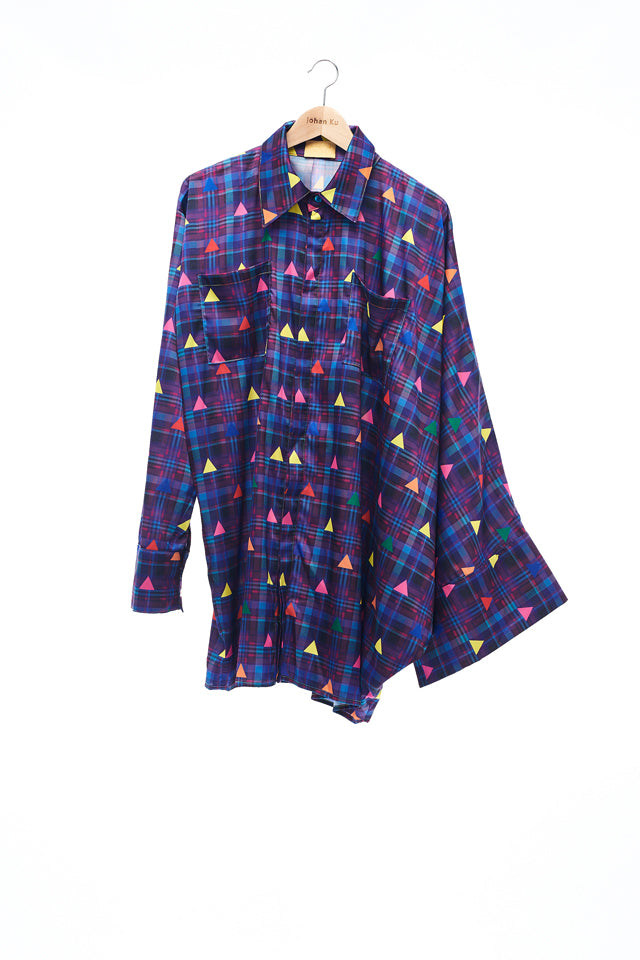 Sean Collection- Asymmetric Cutting Printed Short Dress- Purple Check with Rainbow Triangle Dots