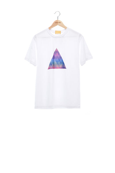 Sean Collection- BPM Inspired Rainbow Triangle Graphic T-Shirt -White