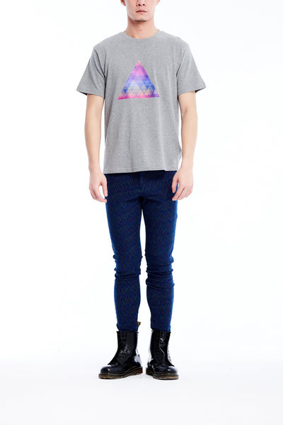 Sean Collection- BPM Inspired Rainbow Triangle Graphic T-Shirt -Gray