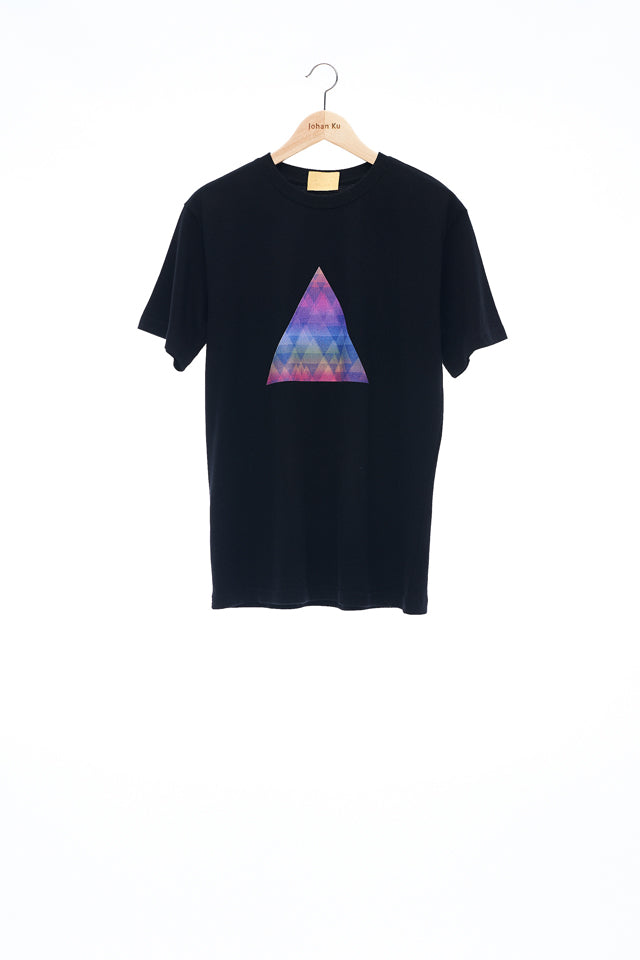 Sean Collection- BPM Inspired Rainbow Triangle Graphic T-Shirt -Black