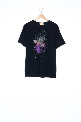 Sean Collection- BPM Inspired Splash Graphic T-Shirt -Black
