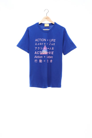 Sean Collection- BPM Inspired Slogan Graphic T-Shirt -Blue