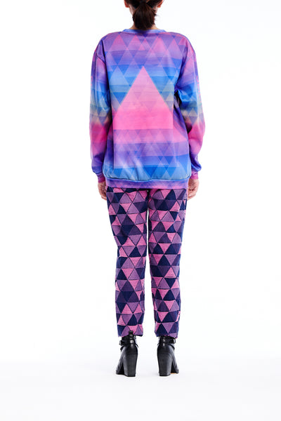 Sean Collection- BPM Inspired Triangle Graphic Full Print Sweatshirt