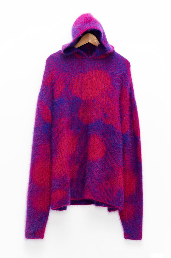 Slade Collection- Angora Hair Over Size Dots Jacquard Knitted Hoodie Top - Johan Ku Shop