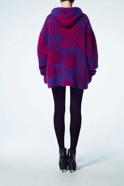 Slade Collection- Angora Hair Over Size Dots Knitted Jacquard Hoodie Top