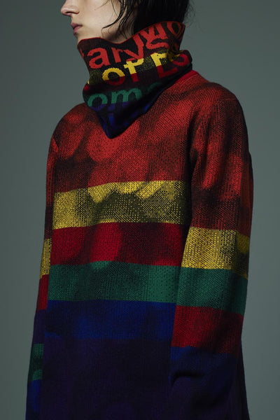 Slade Collection- Rainbow Colour Slogan Snood -Red