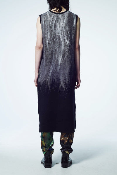 Slade Collection- Fur and Slogan Knitted Jacquard Long Vest Top