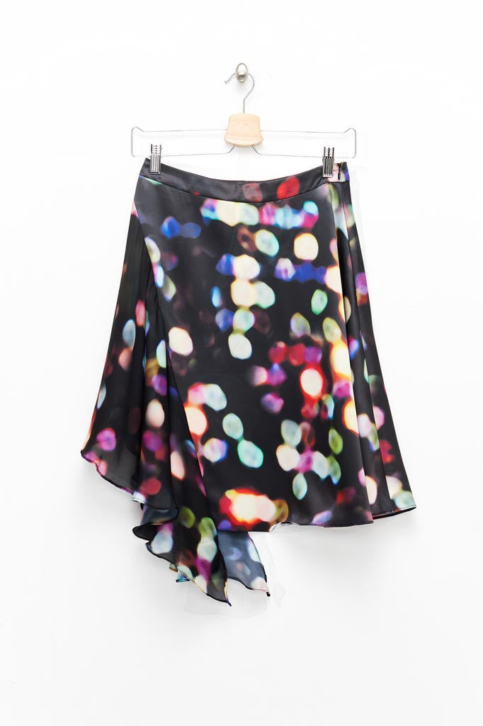 Slade Collection- Velvet Goldmine Inspired Asymmetry Printed Dots Skirt