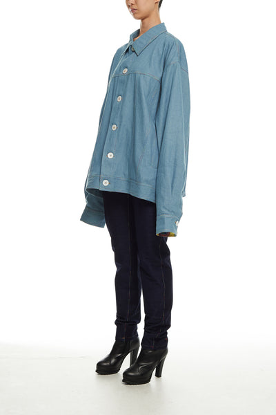 Andy Collection- Rainbow Detailed Over-sized Jeans Jacket-Light Blue