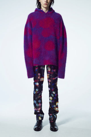 Slade Collection- Rabbit Hair Over Size Dots Jacquard Knitted Hoodie Top