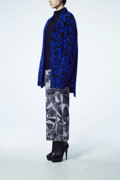 Slade Collection- Angora Hair Leopard Graphic Jacquard Knitted Cardigan - Johan Ku Shop