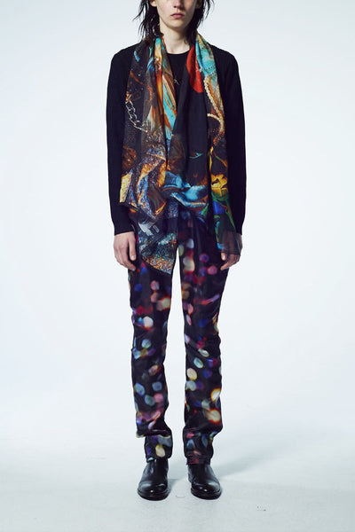 Slade Collection - Velvet Goldmine Inspired Silk Chiffon Printed Long Scarf - Johan Ku Shop