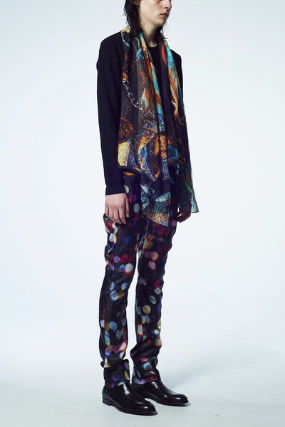 Slade Collection - Velvet Goldmine Inspired Silk Chiffon Printed Long Scarf