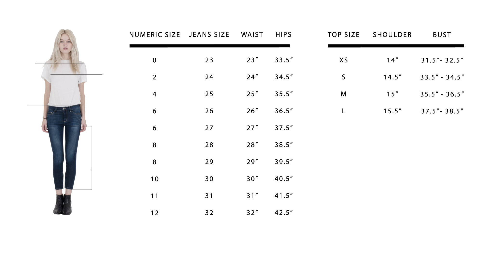 Siwy denim size guide.
