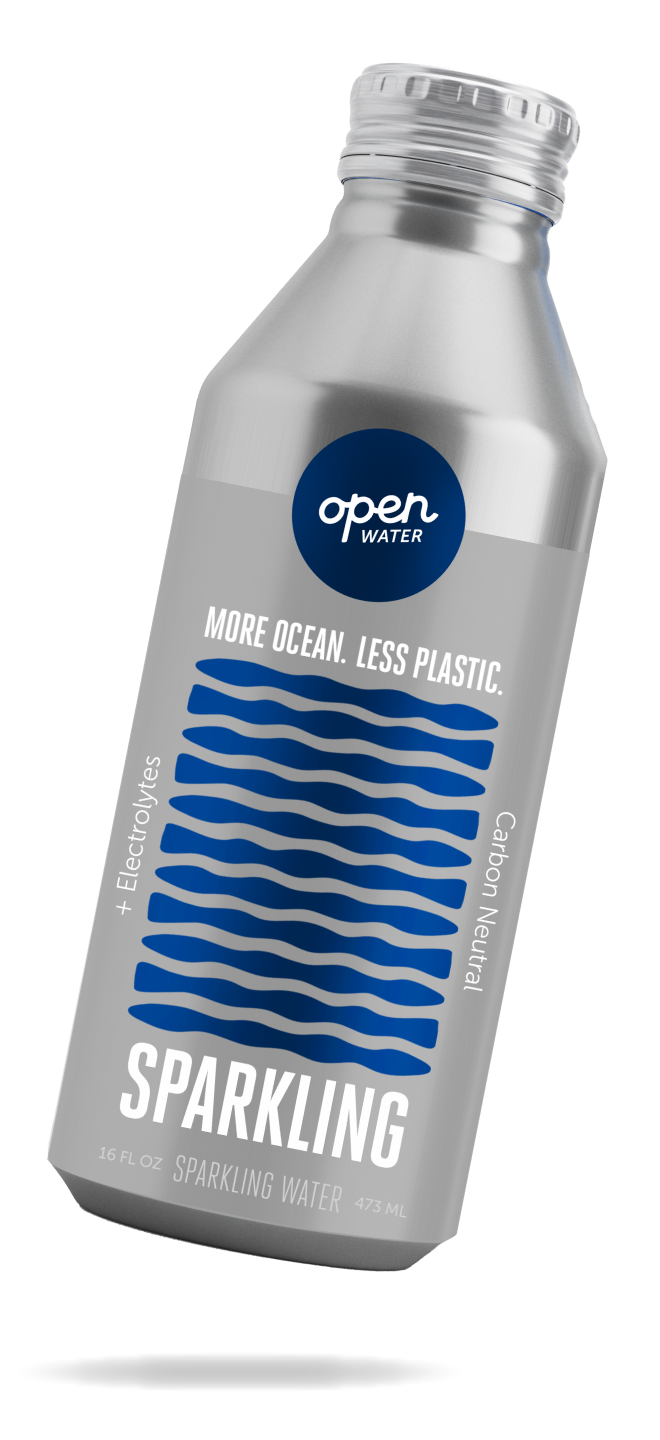 16oz bottle of Open Water sparkling water tilted
