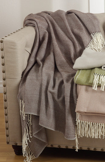 Herringbone Throw - Chocolate