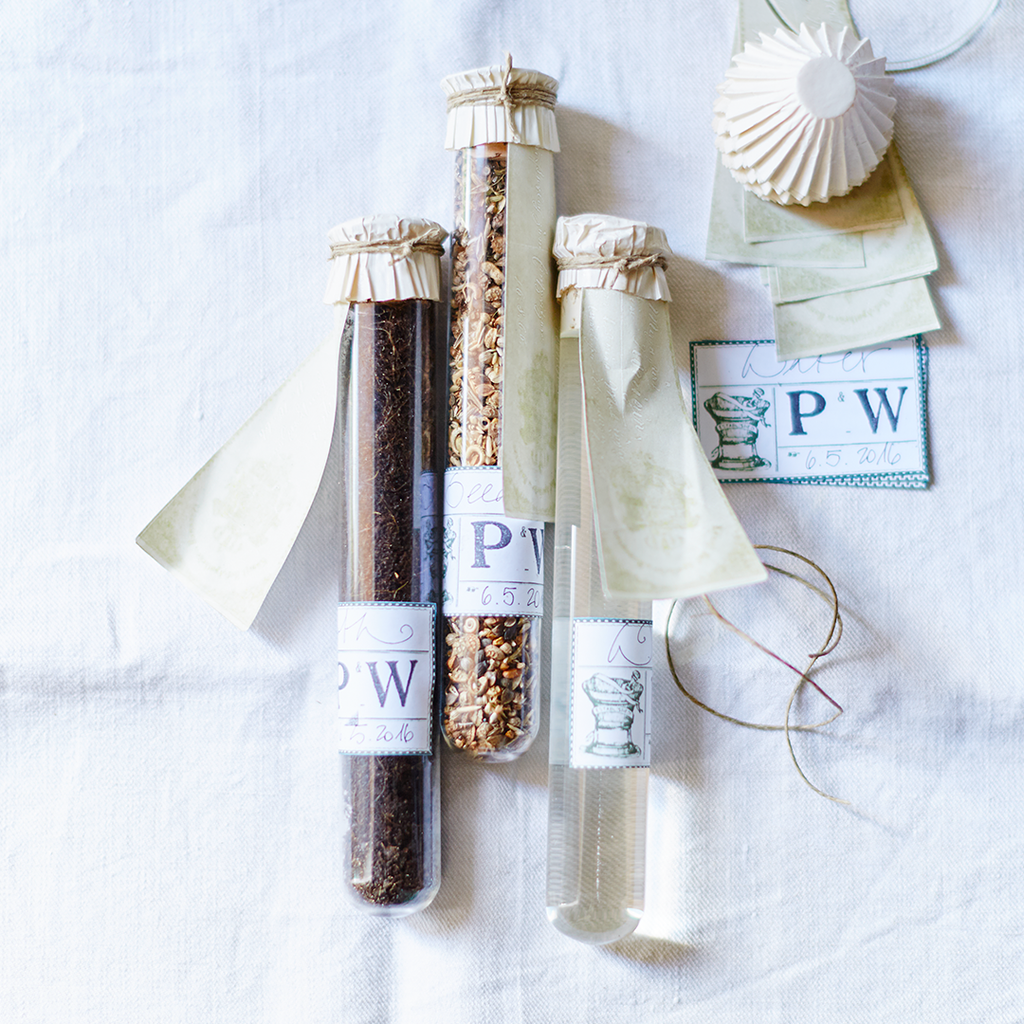 Test Tube Wedding Favors: Earth, Seeds, & Water