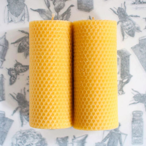 Apis Cera x Invited: Beeswax Pillar Candles - set of 2
