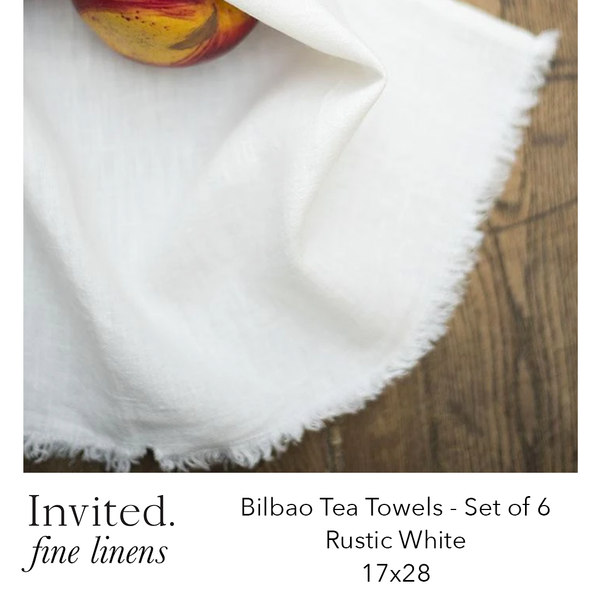 Invited Fine Linens: Bilbao Tea Towels Set of 6 - 9 color options