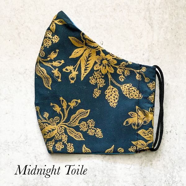 Handmade Face Coverings in Luxurious Dark Prints