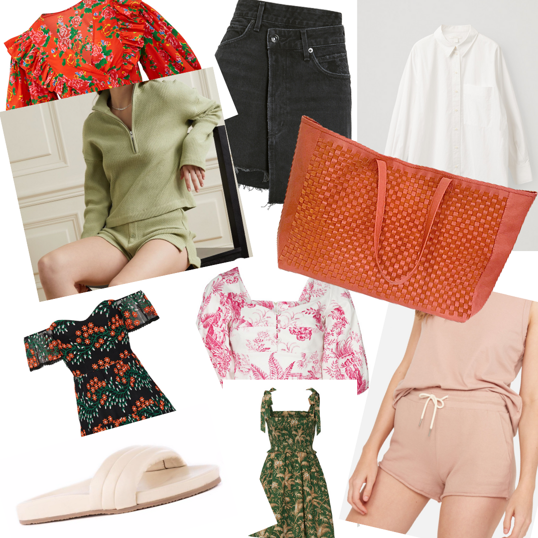 Spring 2021 Trends Im trying, coral woven leather totes, floral prints for dresses with oversized sleeves, bubblegum pink and lime green sets and leather slides.