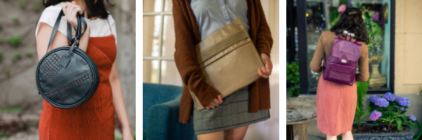 Our Leather Circle Purse, Leather Envelope Clutch and Leather Backpack