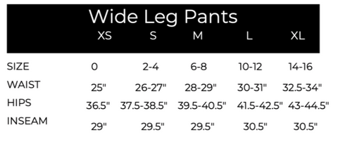 Sizing chart | daph. Apparel Sizes