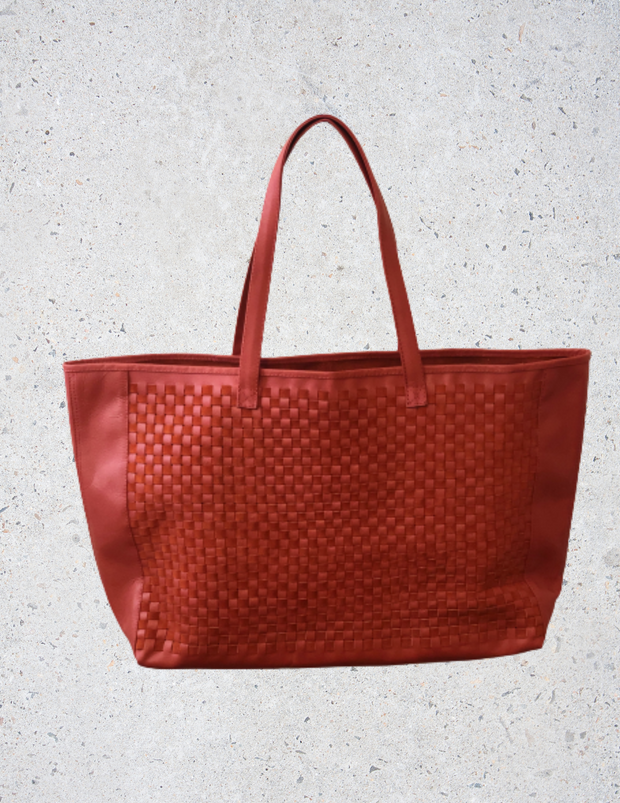 Imperfect brenda. tote bag in Red Coral II