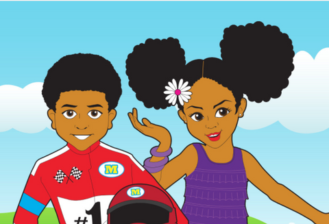 Black Girl with Afro Puffs and Black Boy in Motocross Outfit