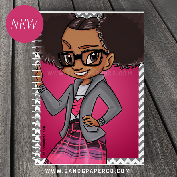 Notebook - Cool Girl Two Puffs and Glasses (8 1/2 by 12)